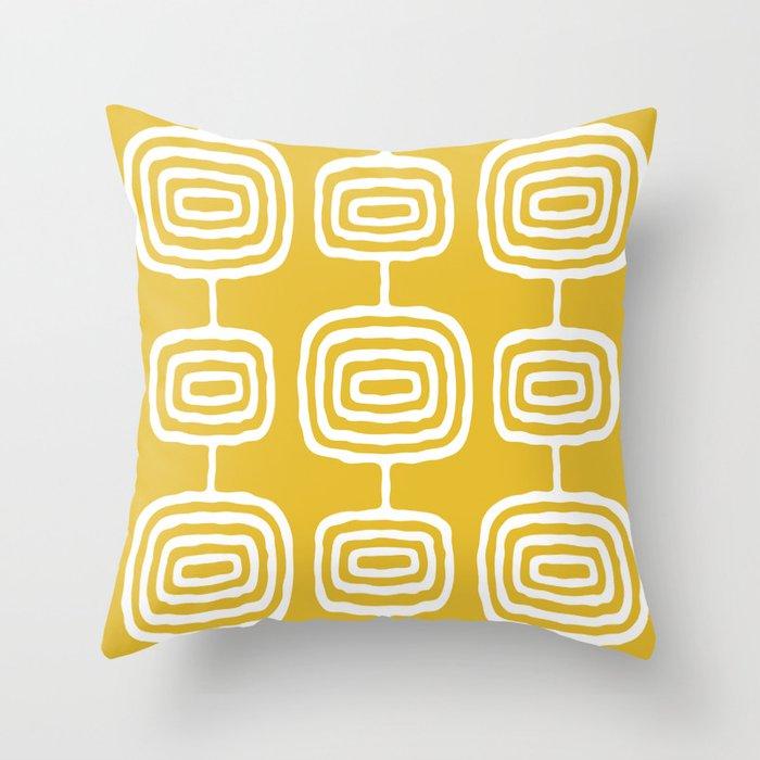 Mid Century Modern Atomic Rings Pattern 771 Mustard Yellow Throw Pillow
