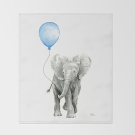Baby Animal Elephant Watercolor Blue Balloon Baby Boy Nursery Room Decor Throw Blanket