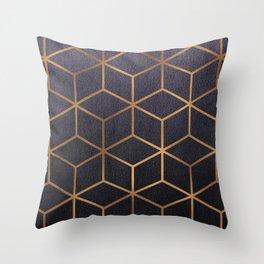 Dark Purple and Gold - Geometric Textured Gradient Cube Design Throw Pillow