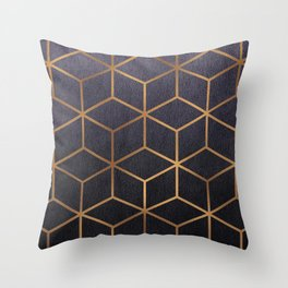 Dark Purple and Gold - Geometric Textured Gradient Cube Design Throw Pillow