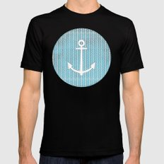 Anchor in Blue SMALL Mens Fitted Tee Black