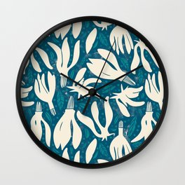 Garden of flowers and dots Wall Clock