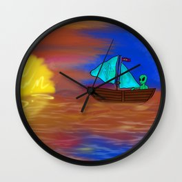 Sunset Voyage with an Extraterrestrial Wall Clock
