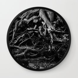 Black and White Tree Root Photography Print Wall Clock