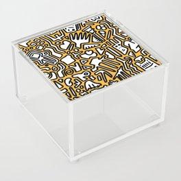 black doodle on orange Acrylic Box