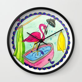 Watercolor pink flamingo in bathroom takes shower Wall Clock