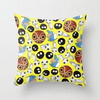 ghibli Throw Pillows featuring Ghibli Pattern by pkarnold + The Cult Print Shop