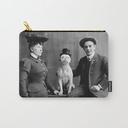 Vintage Black and White Photograph Dog Wearing Hat Carry-All Pouch