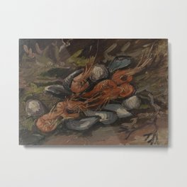 Prawns and Mussels Metal Print