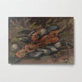Prawns and Mussels Metal Print