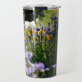 Georgeson Botanical Gardens, Fairbanks Alaska, Iris and Lilies Travel Mug