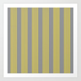Hand-painted Stripes in Illuminating Yellow and Ultimate Grey Colors, Paint and Canvas Texture, 2021 Color Trend  Art Print