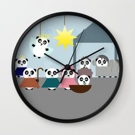 Panda Christmas Play Wall Clock