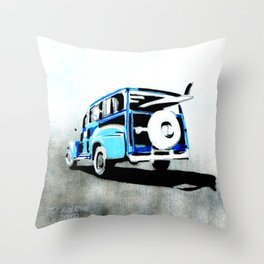 Woodys surf carrier Throw Pillow
