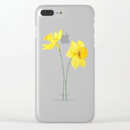 two botanical yellow daffodils watercolor Clear iPhone Case