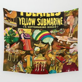 1968 Yellow Submarine Italy Movie Promotional Poster Wall Tapestry