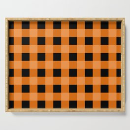 Orange and Black Buffalo Check Serving Tray