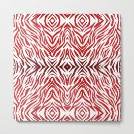 Red Zebra Pattern Metal Print