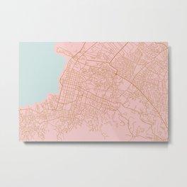 Pink Port au Prince map Metal Print