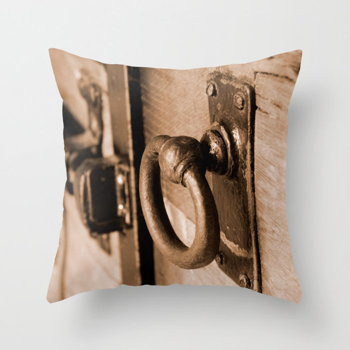 Rustic Antique Door Handle Pull and Latch Sepia Throw Pillow