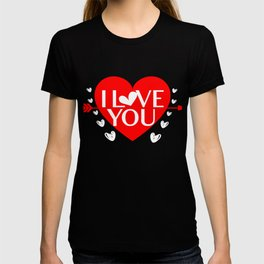 I Love You Hearts Cupids Arrows Bows Romance Valentines Day Gift T-shirt