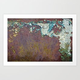 Flaking paint on old rusty wall Art Print