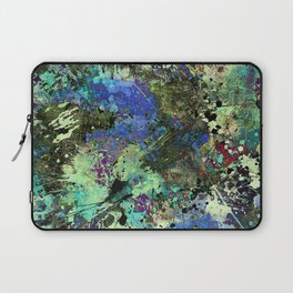 Deep In Thought - Black, blue, purple, white, abstract, acrylic paint splatter artwork Laptop Sleeve