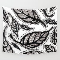 alisa burke Wall Tapestries featuring black and white leaves by Alisa Burke