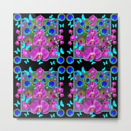 Four Panel Black Blue-Pink Orchids Butterflies Peacock Eyes Metal Print