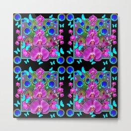 Four Panel Black Blue-Pink Orchids Butterflies Peacock Eyes Metal Print
