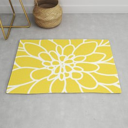 Modern Yellow Dahlia Flower Rug