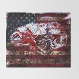 Patriotic American Barn Throw Blanket
