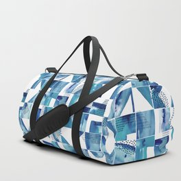 Blue Watercolor Typographical Fragments Cheater Quilt Duffle Bag