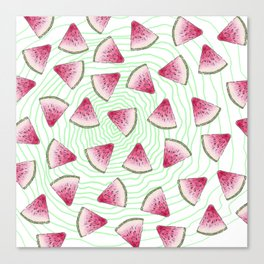 Summery Cute Watercolor Watermelons on Green Swirl Canvas Print