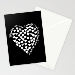Hearts Heart Teacher White on Black Stationery Cards