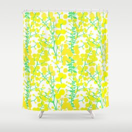Australian Golden Wattle Flowers in White Shower Curtain