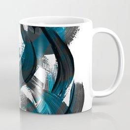 Blue and black brush stroke pattern Coffee Mug