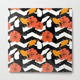 Chevron patter with cute toucans Metal Print