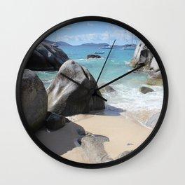Scenic Beach at The Baths on Virgin Gorda, BVI Wall Clock