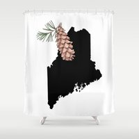 maine Shower Curtains featuring Maine Silhouette by Ursula Rodgers