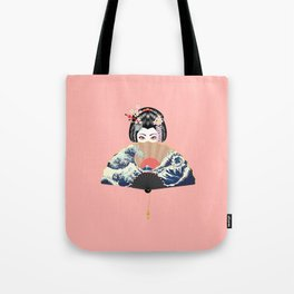 Portrait of japanese geisha woman with traditional fan design Tote Bag
