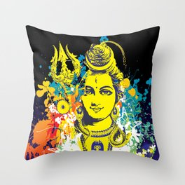 Shiv Fusion: The Resonance of Bliss – Portal to Higher Dimensions Throw Pillow
