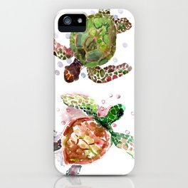 Turtles, Olive Green Cherry Colored Sea Turtles, turtle iPhone Case
