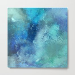 Abstract navy blue teal turquoise watercolor pattern Metal Print