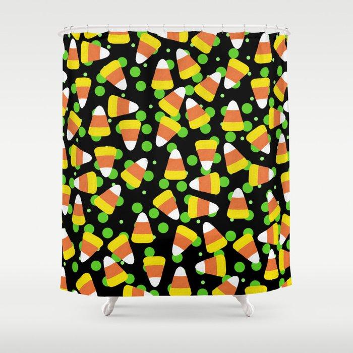 Candy Corn Jumble (black background) Shower Curtain