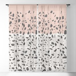 Terrazzo pink abstract Sheer Curtain
