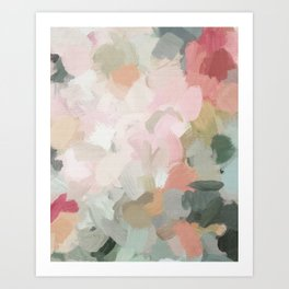 Forest Green Fuchsia Blush Pink Abstract Flower Spring Painting Art Art Print