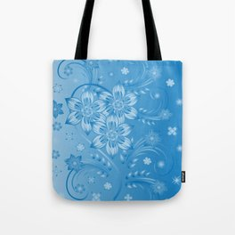 Abstract blue flowers with background Tote Bag