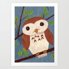 Baby Owl Perched on a Branch Art Print