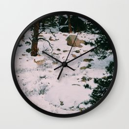 Coyotes on the hunt Wall Clock